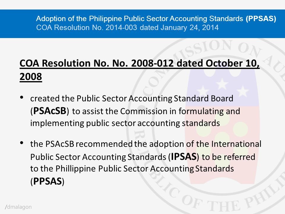 COA Resolution No. No. 2008-012 dated October 10, 2008