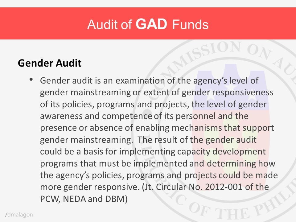 Audit of GAD Funds Gender Audit