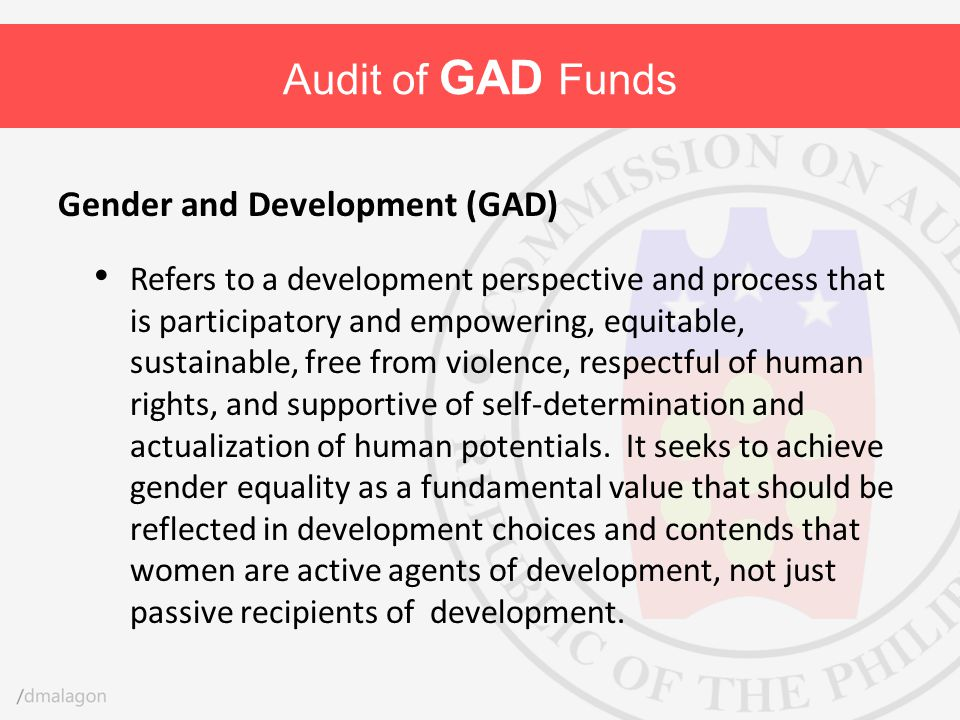 Audit of GAD Funds Gender and Development (GAD)