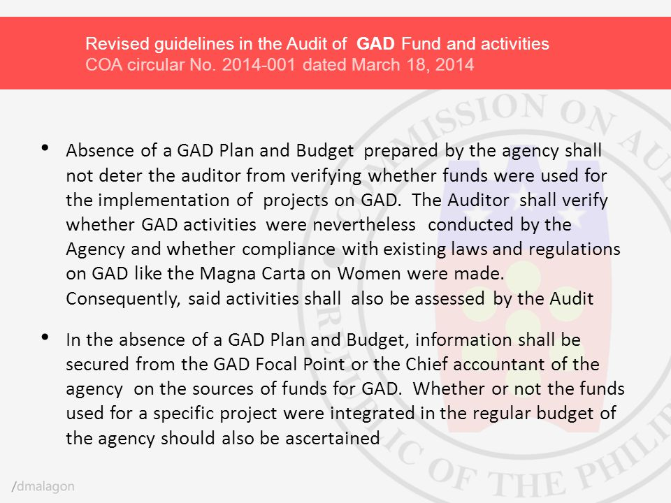 Revised guidelines in the Audit of GAD Fund and activities COA circular No. 2014-001 dated March 18, 2014