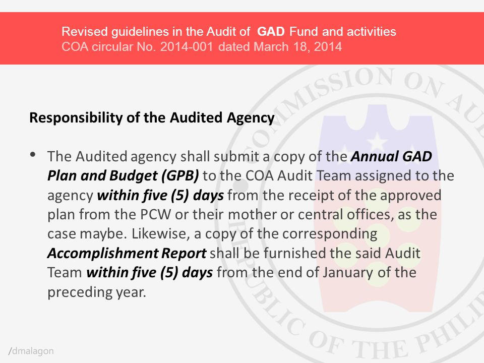 Responsibility of the Audited Agency