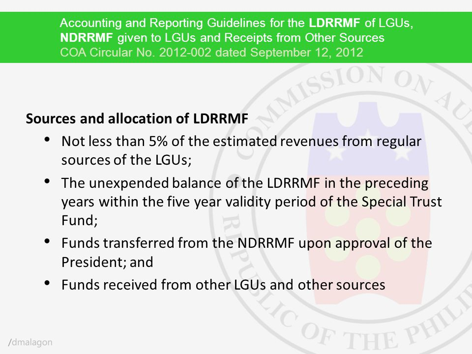 Sources and allocation of LDRRMF