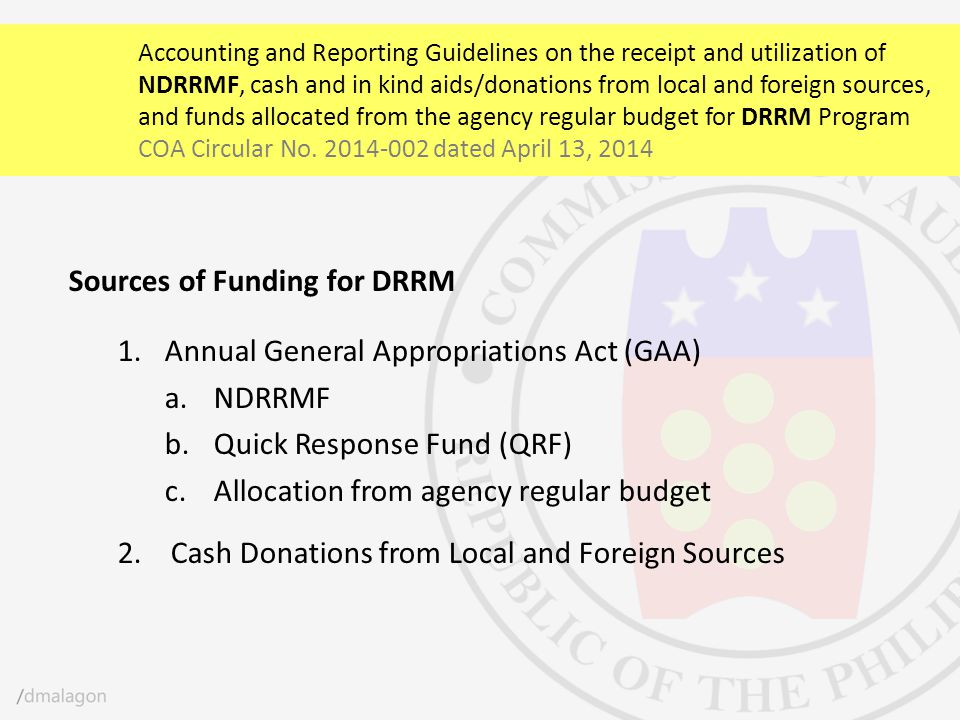 Sources of Funding for DRRM Annual General Appropriations Act (GAA)