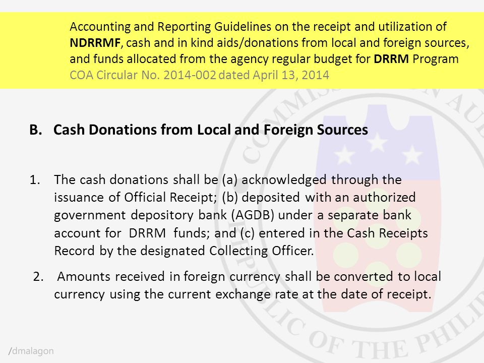 Cash Donations from Local and Foreign Sources