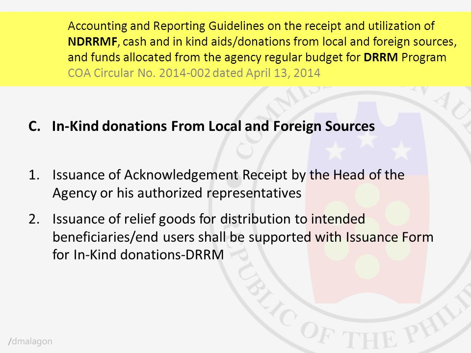 In-Kind donations From Local and Foreign Sources