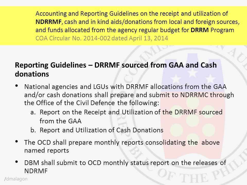 Reporting Guidelines – DRRMF sourced from GAA and Cash donations