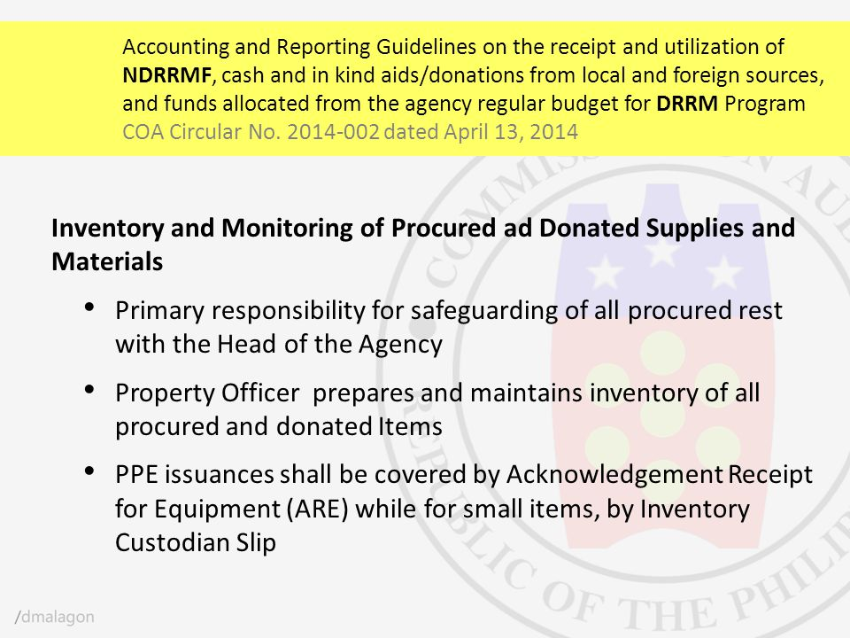 Inventory and Monitoring of Procured ad Donated Supplies and Materials