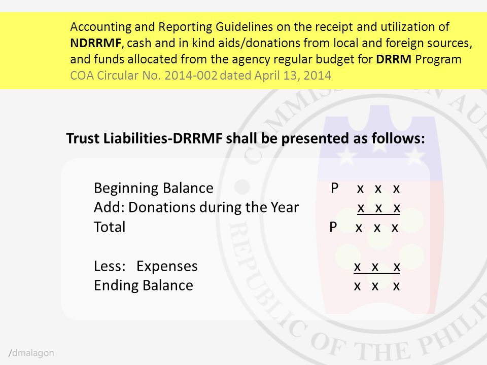 Trust Liabilities-DRRMF shall be presented as follows: