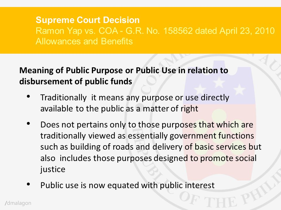 Public use is now equated with public interest