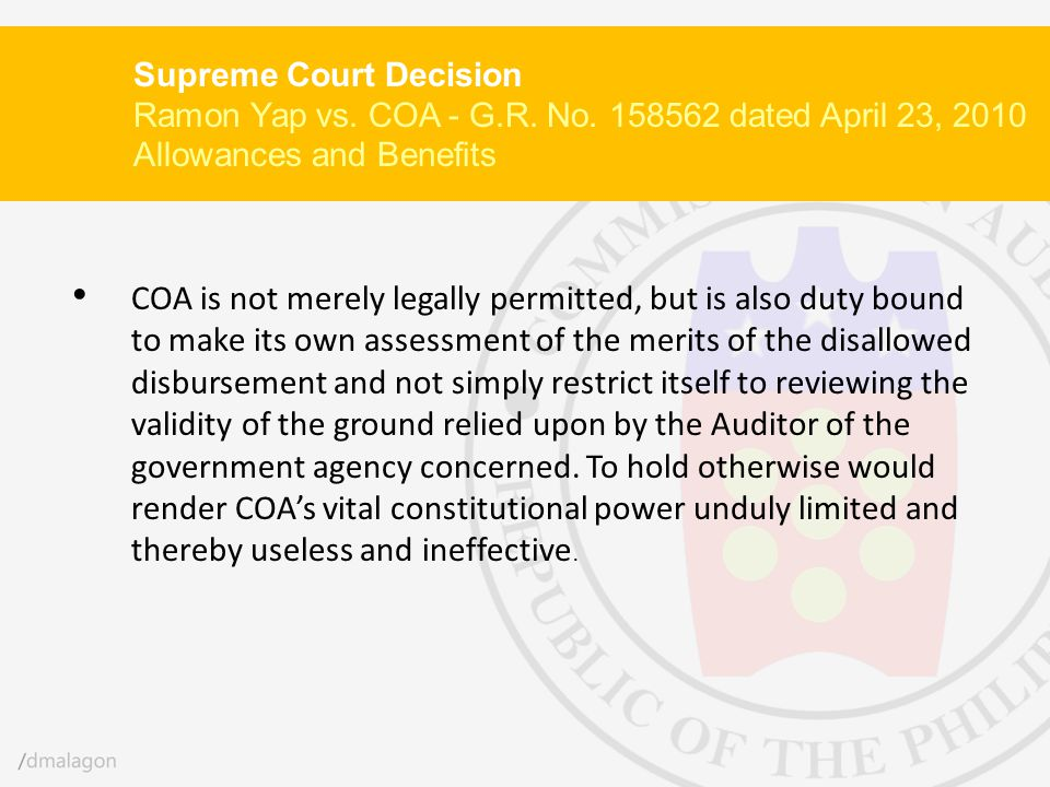 Supreme Court Decision Ramon Yap vs. COA - G. R. No