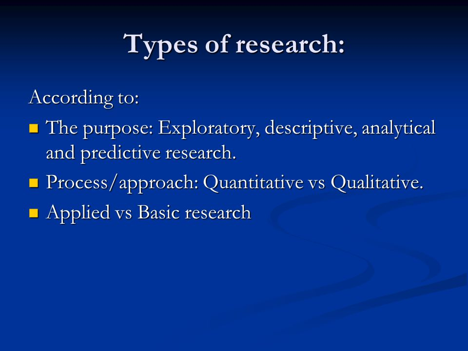 Types of research: According to: