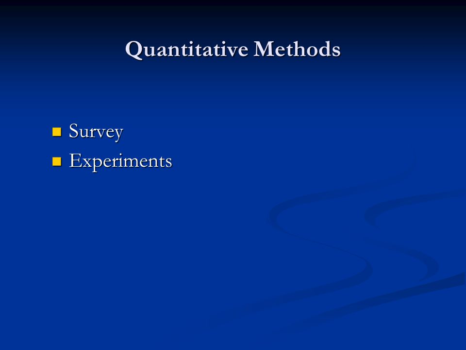 Quantitative Methods Survey Experiments