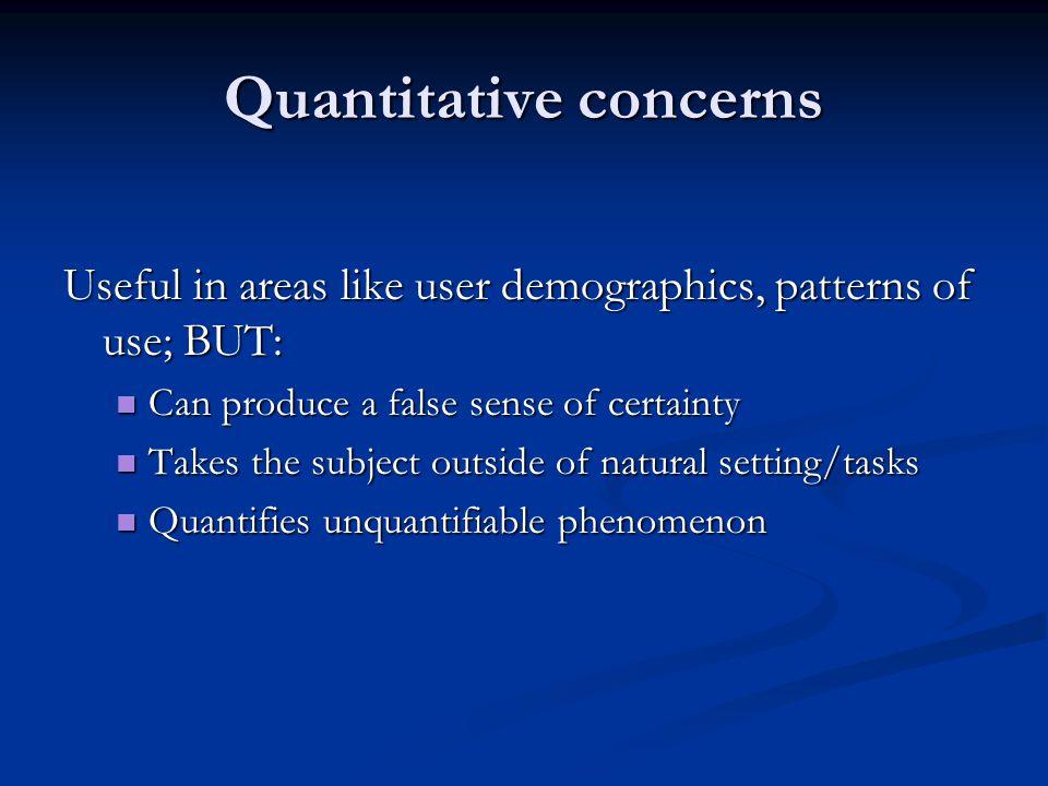 Quantitative concerns
