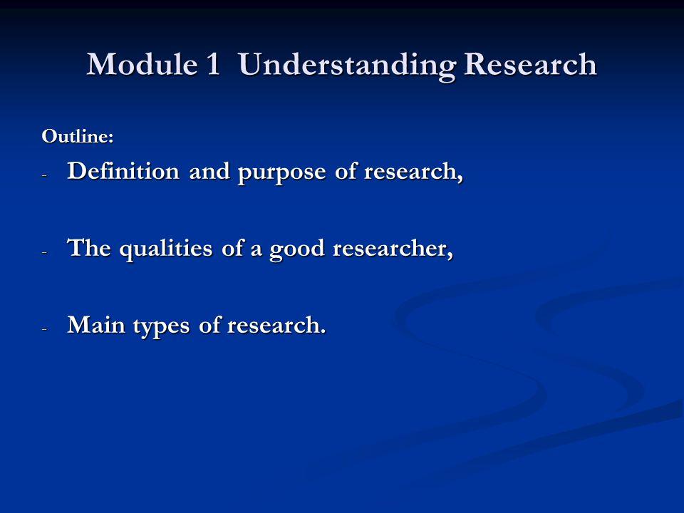 Module 1 Understanding Research