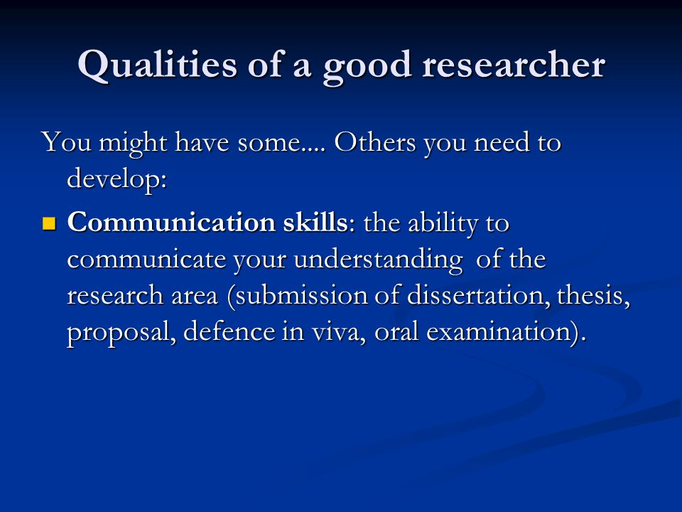 Qualities of a good researcher