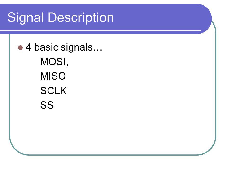 Signal Description 4 basic signals… MOSI, MISO SCLK SS