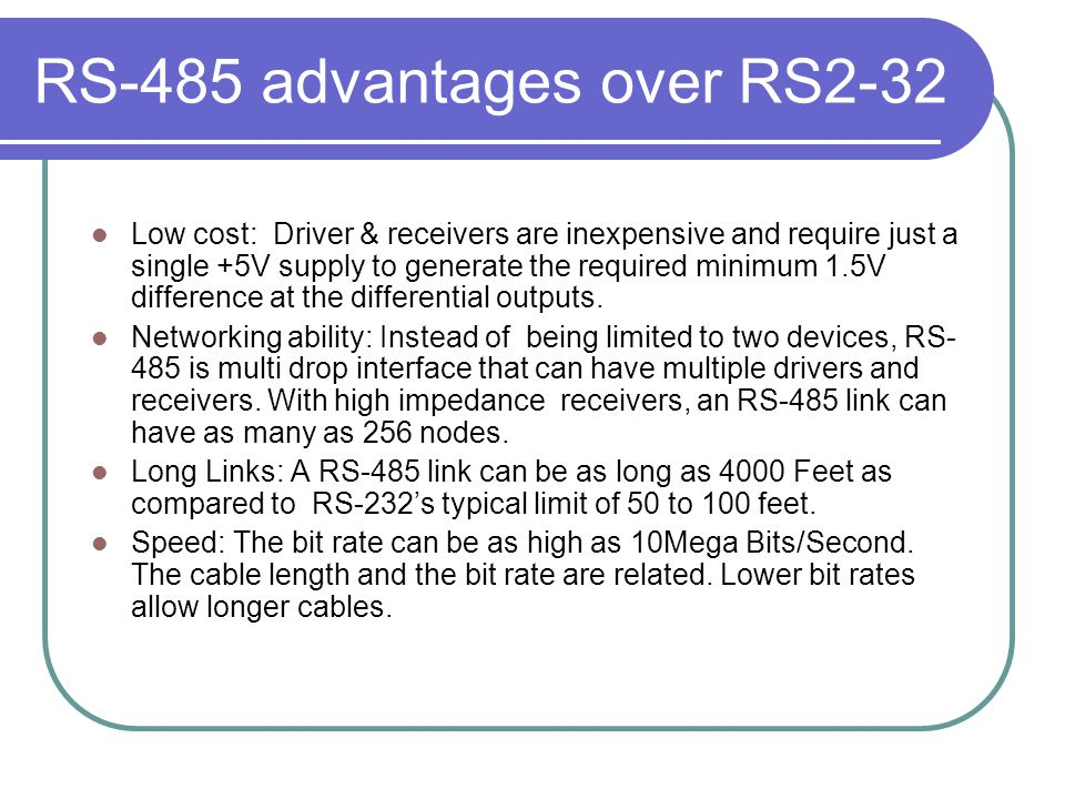 RS-485 advantages over RS2-32