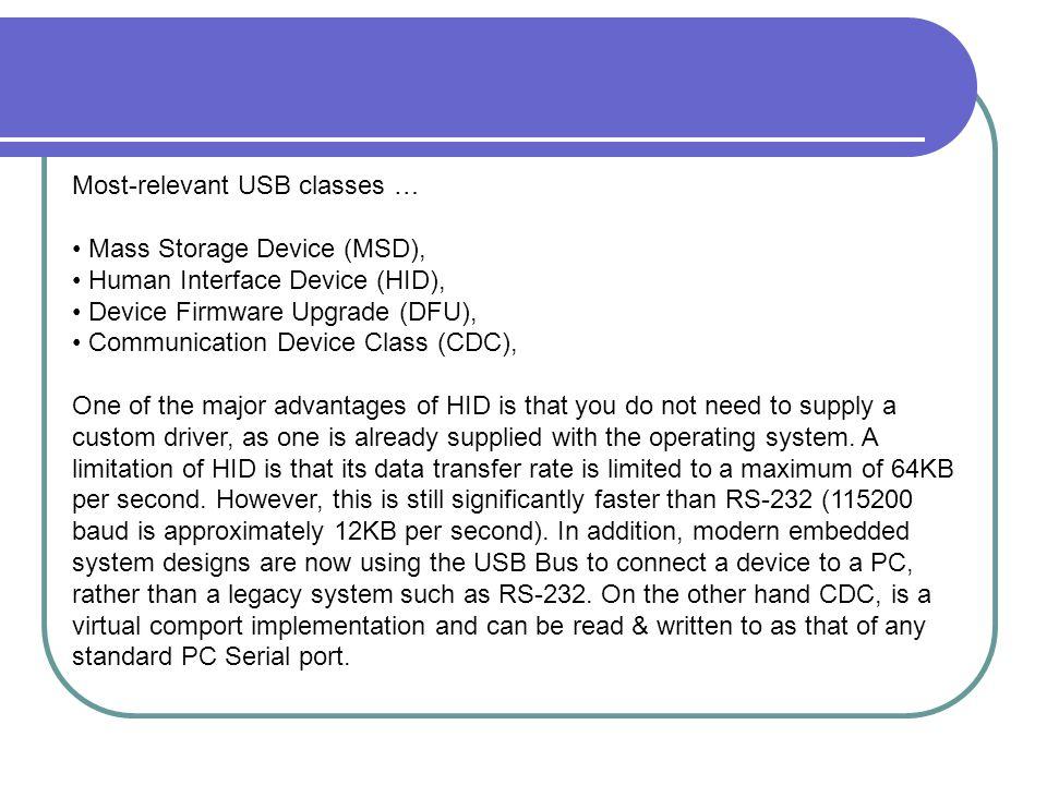 Most-relevant USB classes …