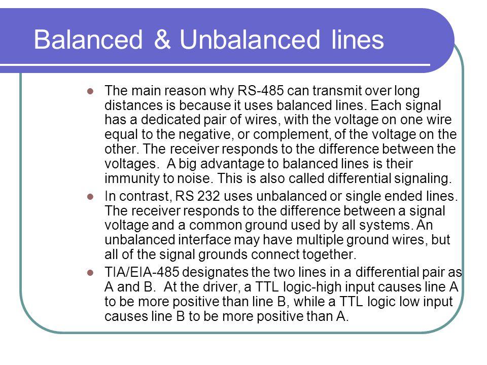 Balanced & Unbalanced lines