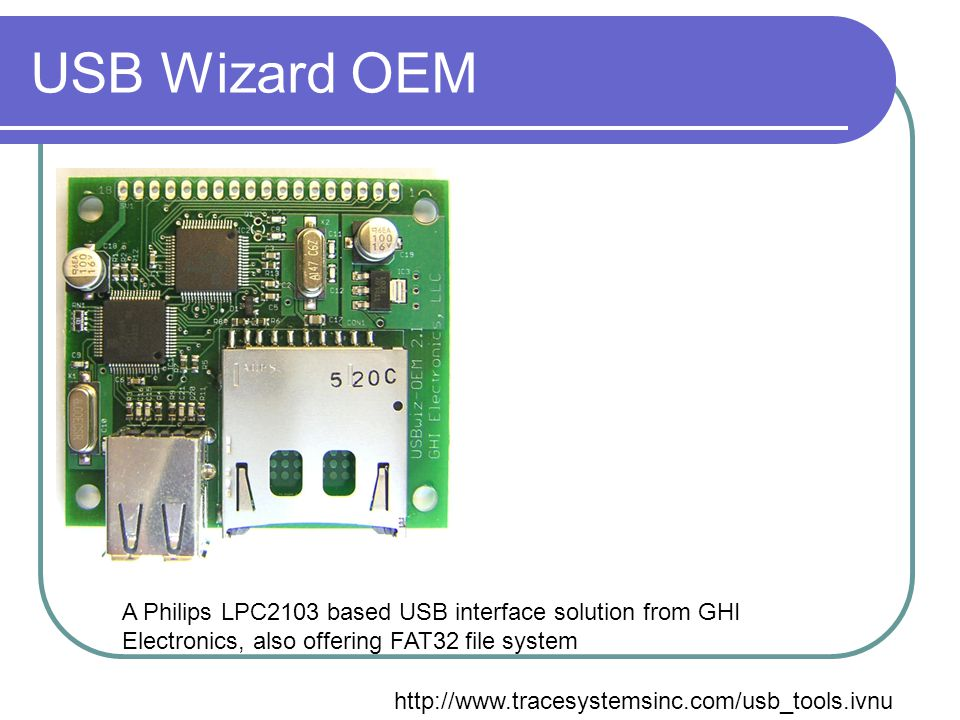 USB Wizard OEM A Philips LPC2103 based USB interface solution from GHI Electronics, also offering FAT32 file system.