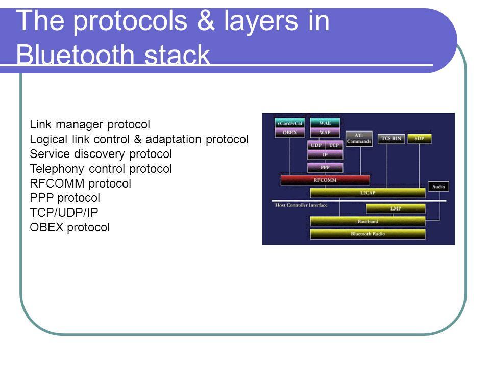 The protocols & layers in Bluetooth stack