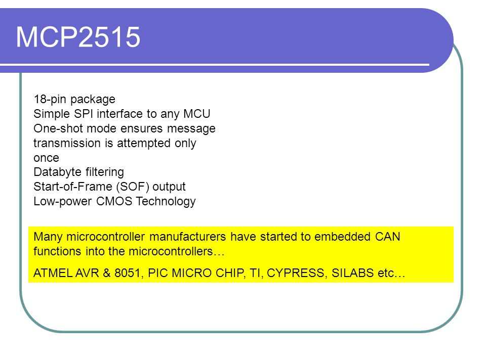 MCP2515 18-pin package Simple SPI interface to any MCU