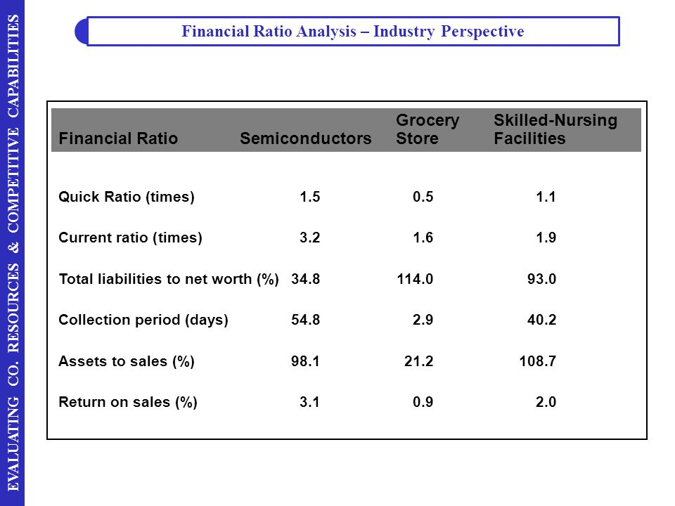 Financial Ratio Analysis – Industry Perspective