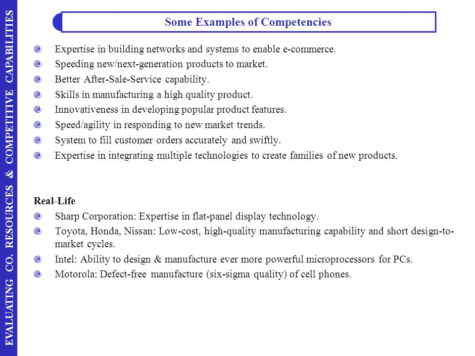 Some Examples of Competencies