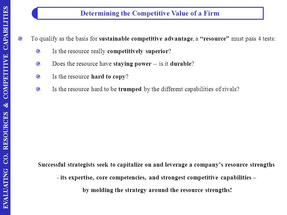 Determining the Competitive Value of a Firm