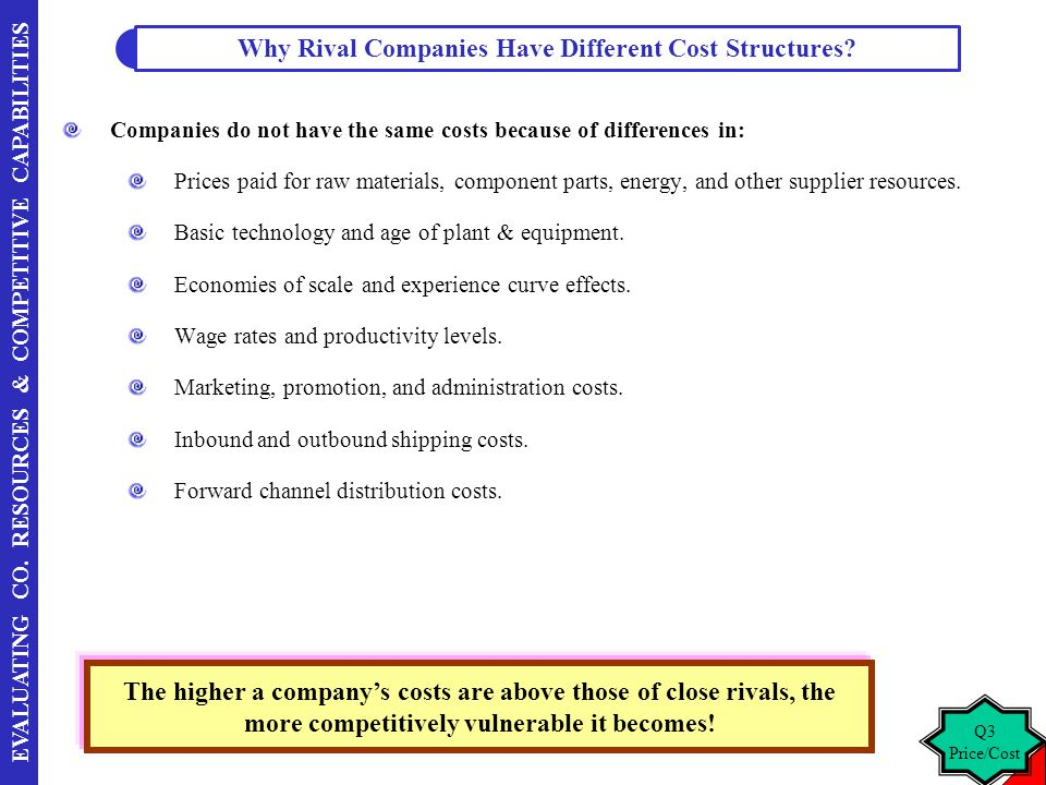 Why Rival Companies Have Different Cost Structures