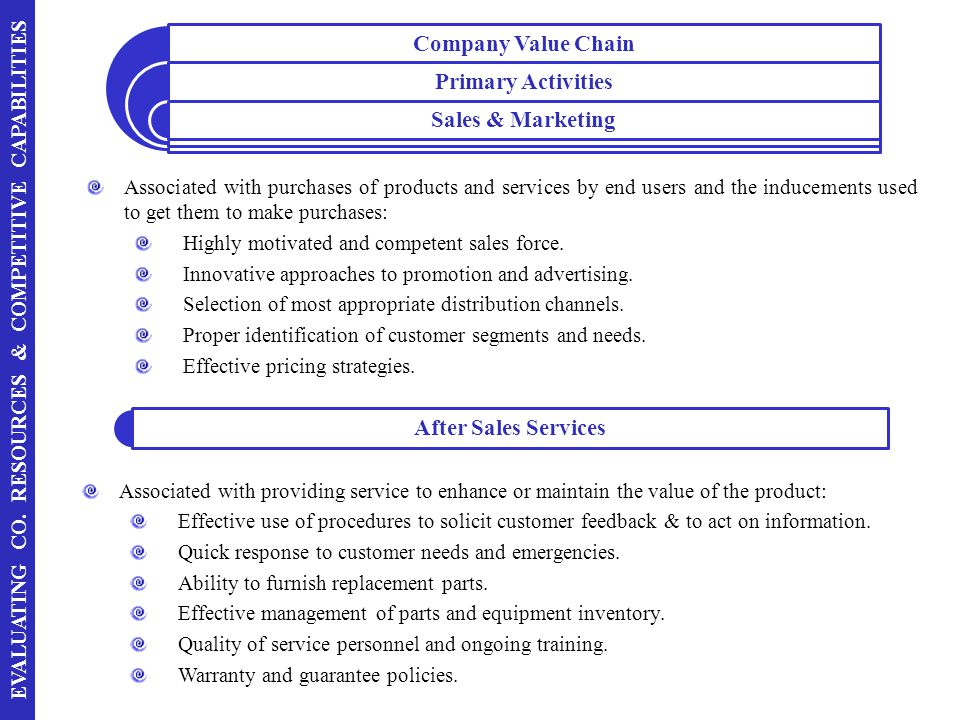 Company Value Chain Primary Activities. Sales & Marketing.