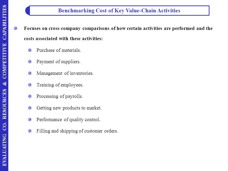 Benchmarking Cost of Key Value-Chain Activities