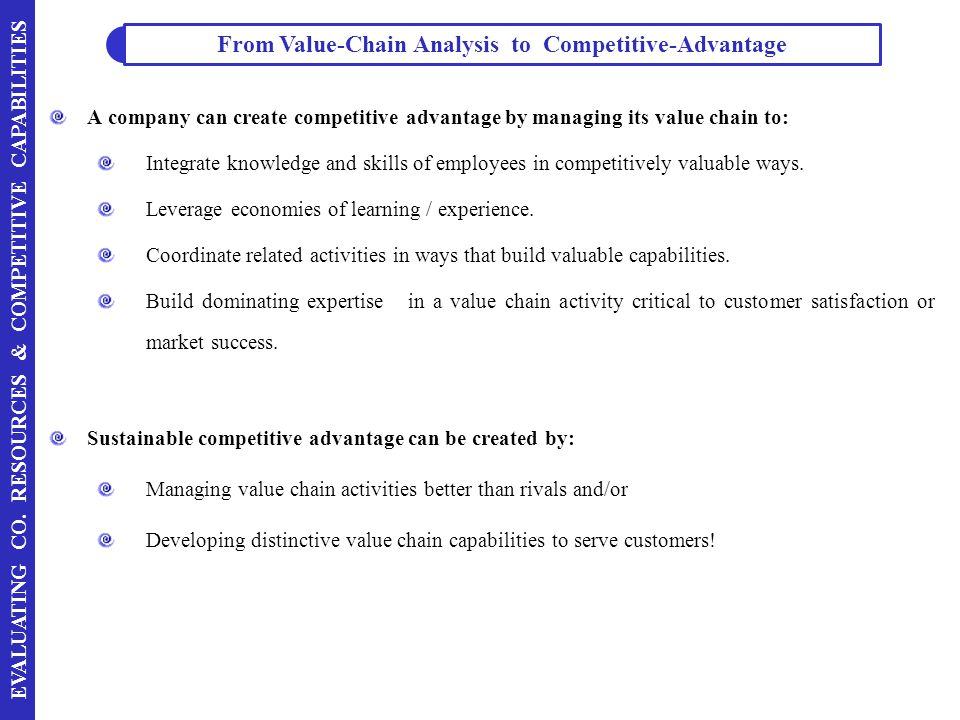 From Value-Chain Analysis to Competitive-Advantage
