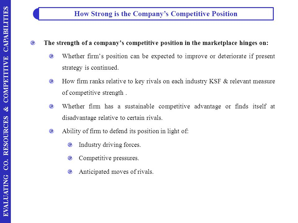 How Strong is the Company's Competitive Position