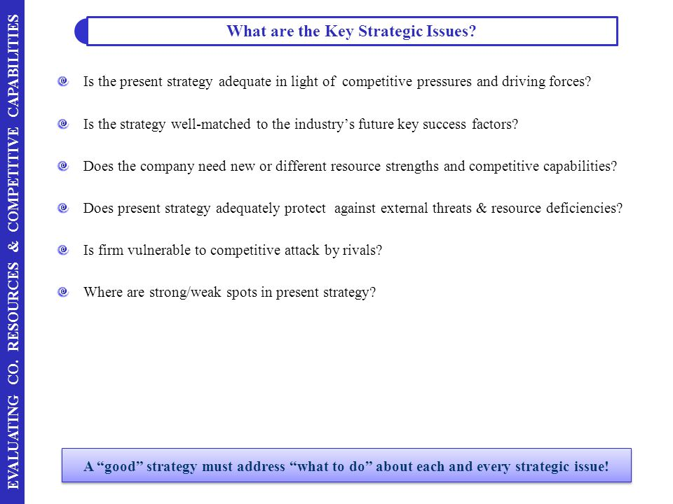 What are the Key Strategic Issues