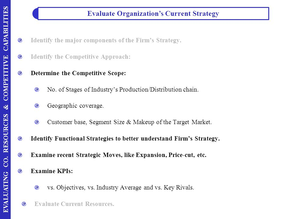 Evaluate Organization's Current Strategy