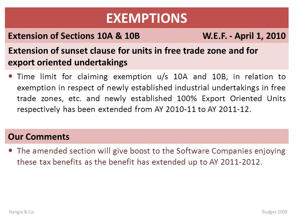EXEMPTIONS Extension of Sections 10A & 10B W.E.F. - April 1, 2010