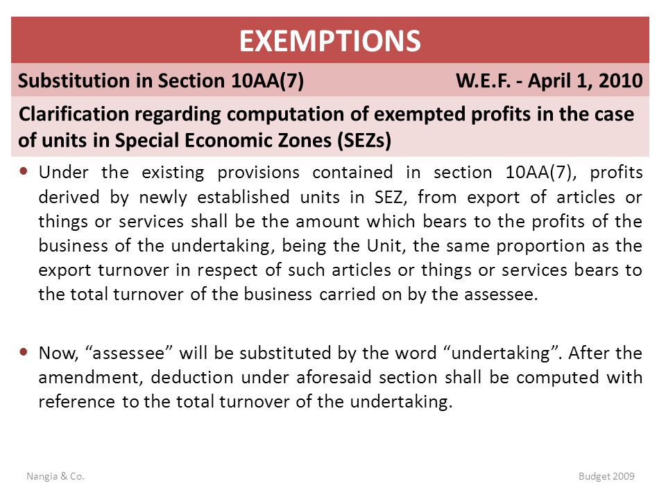 EXEMPTIONS Substitution in Section 10AA(7) W.E.F. - April 1, 2010