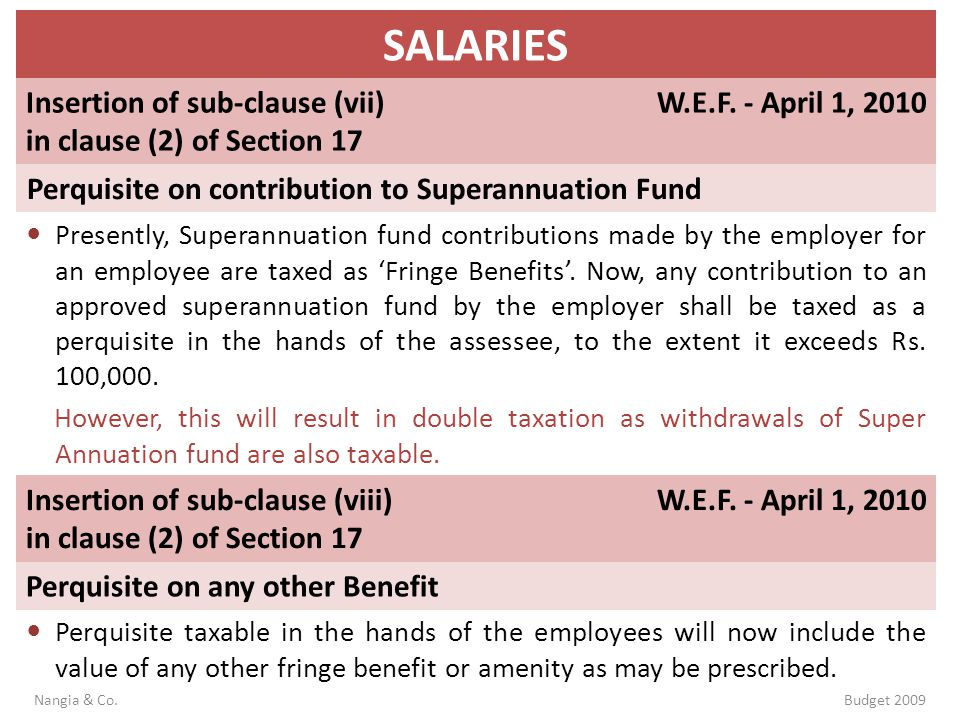 SALARIES Insertion of sub-clause (vii) in clause (2) of Section 17