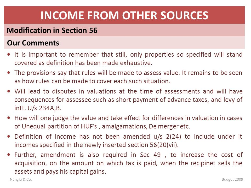 INCOME FROM OTHER SOURCES