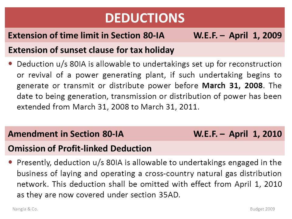 DEDUCTIONS Extension of time limit in Section 80-IA
