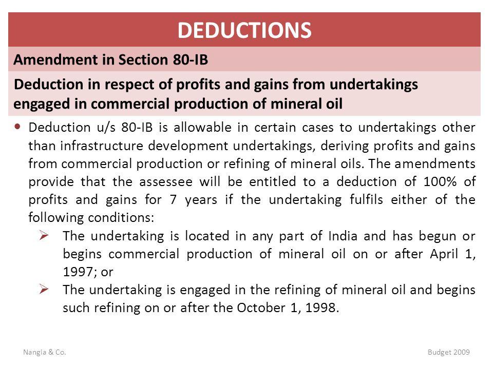 DEDUCTIONS Amendment in Section 80-IB