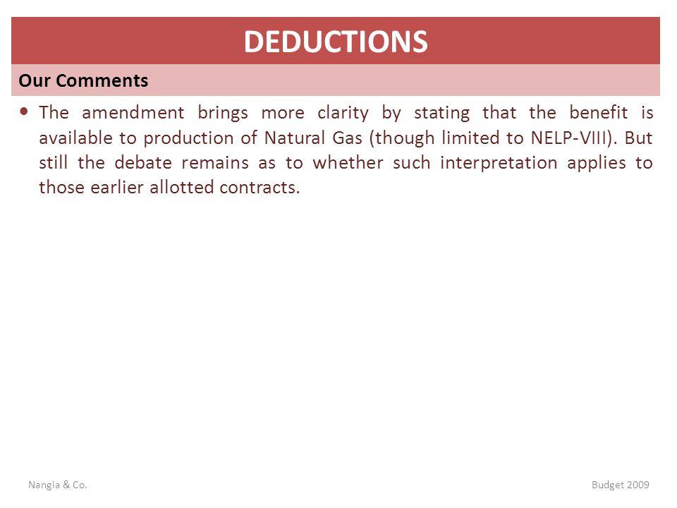 DEDUCTIONS Our Comments