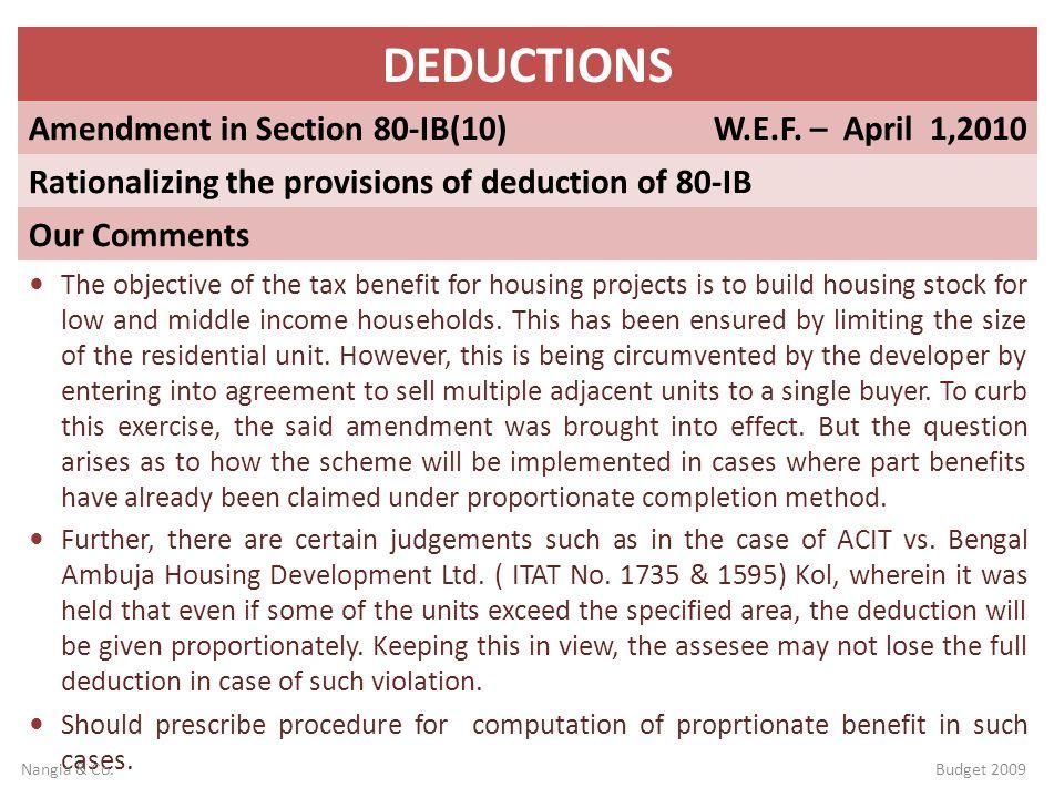 DEDUCTIONS Amendment in Section 80-IB(10) W.E.F. – April 1,2010