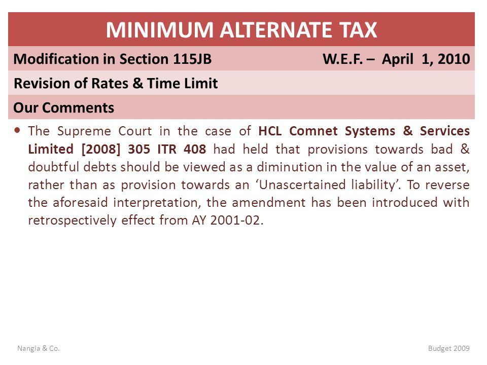 MINIMUM ALTERNATE TAX Modification in Section 115JB