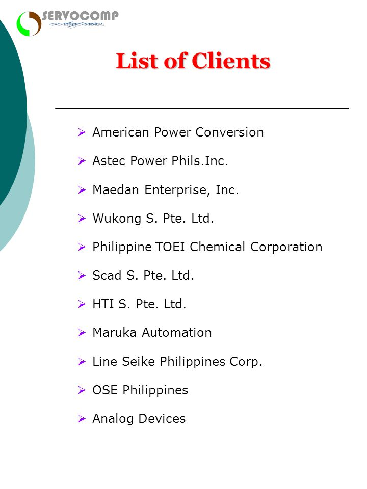 enterprises List of Clients SERVOCOMP American Power Conversion