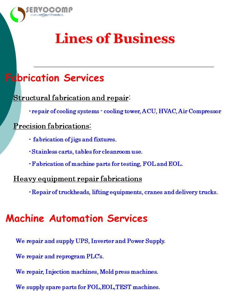 enterprises Lines of Business Fabrication Services