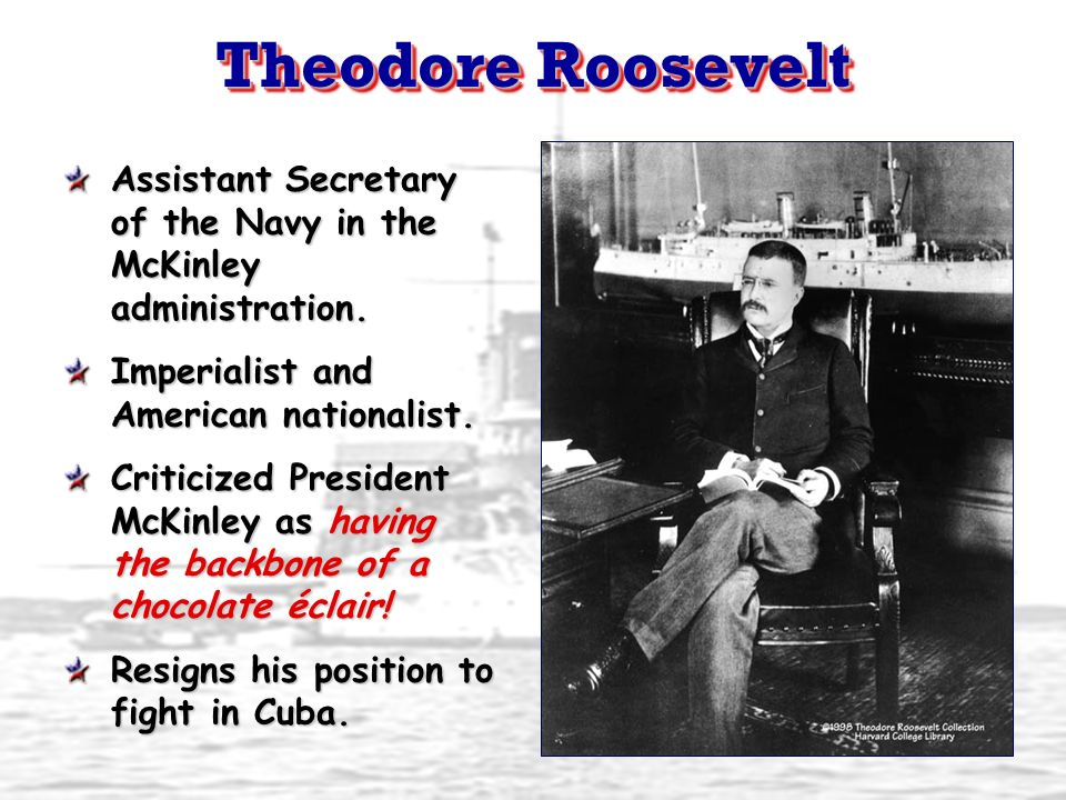 Theodore RooseveltAssistant Secretary of the Navy in the McKinley administration. Imperialist and American nationalist.