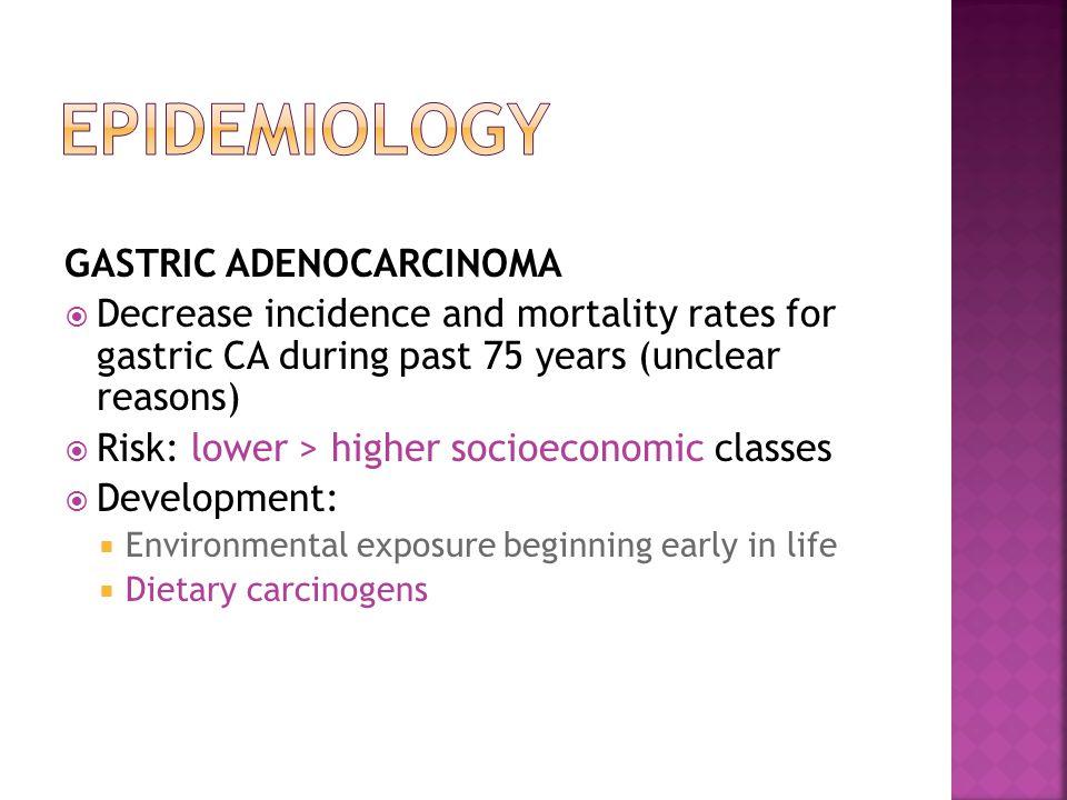 EPIDEMIOLOGY GASTRIC ADENOCARCINOMA
