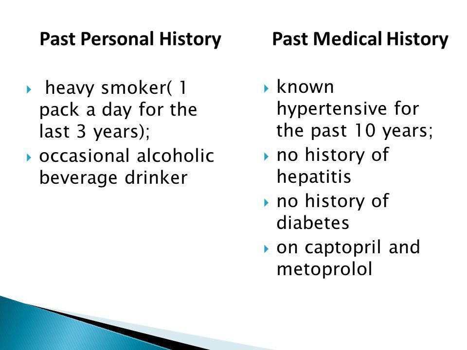 Past Personal History Past Medical History